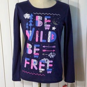 Girls Sleepwear T Shirt Cat & Jack Blue  Sleeve XL